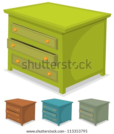 Cabinet Green Set/ Illustration of a set of cartoon wooden cabinet furniture in various colors