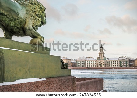 Cabinet of Curiosities in St. Petersburg at dawn in winter. Russia. Focus on the cabinet of curiosities - stock photo