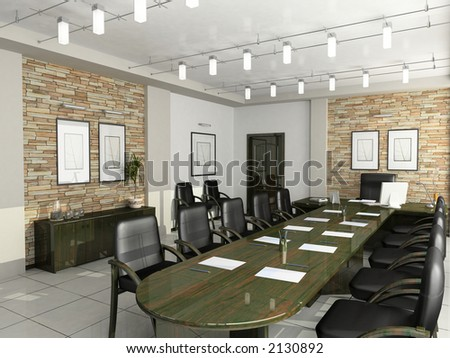 cabinet of the director furniture office negotiations 3D interior - stock photo