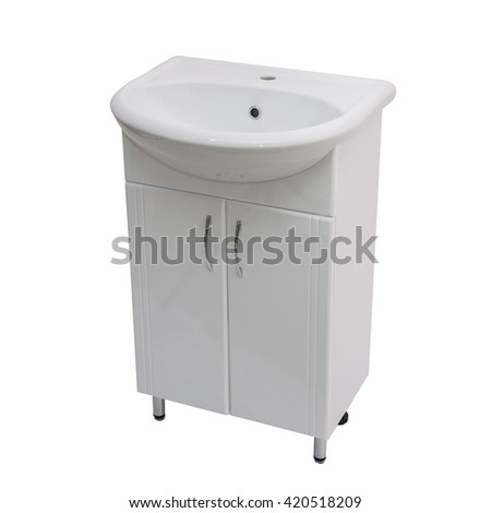 cabinet with a sink for the bathroom