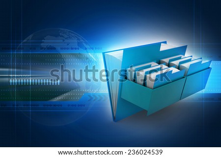 Cabinet with file folder - stock photo