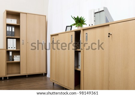 cabinets with folders in a modern office - stock photo