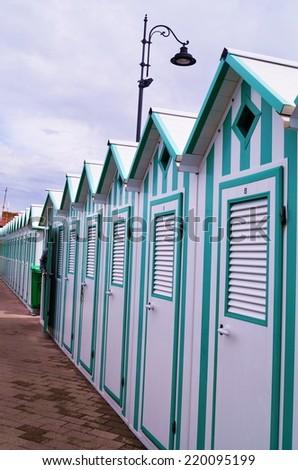 Cabins in a bathing facility, Marciana Marina, Elba Island, Tuscany, Italy - stock photo