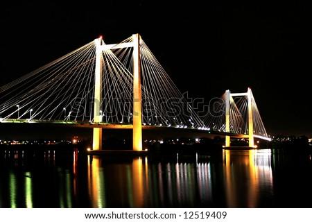 Cable Bridge at Night - stock photo