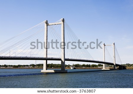 Cable Bridge between Pasco and Kennewick in Eastern Washington State - stock photo