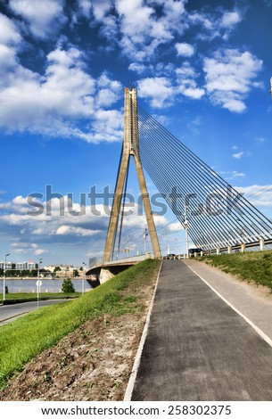cable bridge in Riga, Latvia - stock photo