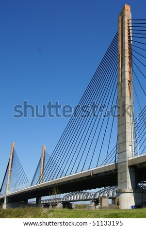 Cable bridge made off concrete in Europe, The Netherlands, Zaltbommel
