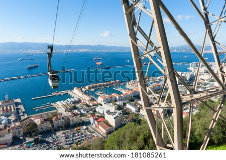 Cable Car approaching Rock of Gibraltar - stock photo