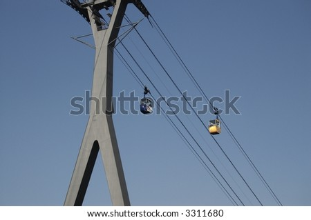 Cable car crossing Rhine river in Cologne, Germany