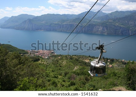 Cable Car Down to Malcesine, Lake Garda, Italy.