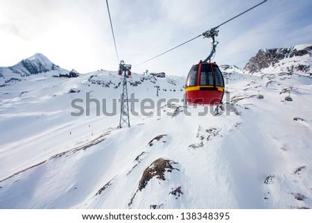 Cable car going to Kitzsteinhorn peak, Kaprun, Austria - stock photo
