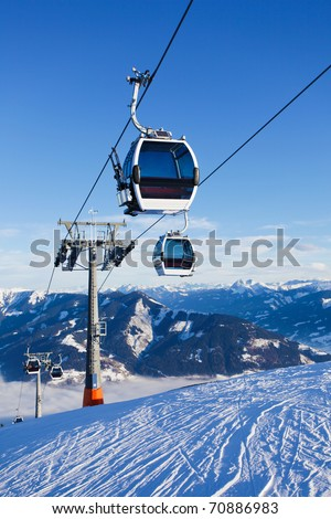 Cable car going to Schmitten ski resort in Zell Am See, Austria