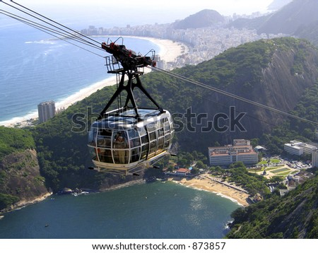 Cable car going to the Sugar Loaf