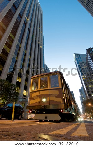 Cable Car in downtown San Francisco - stock photo