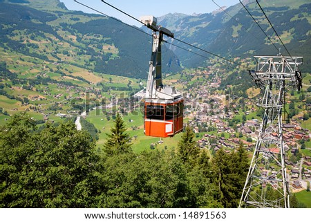 Cable Car in Grindelwald, Bern Canton, Switzerland - stock photo