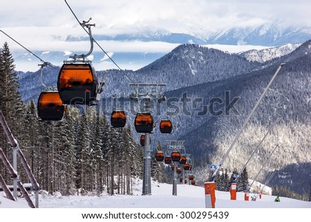 Cable car in Jasna winter resort, Slovakia - stock photo
