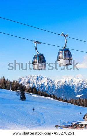 Cable car in ski resort Nassfeld, Austria.