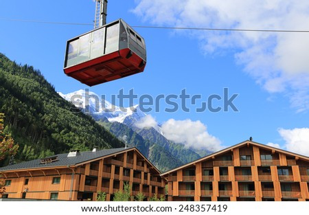 Cable car in the Chamonix L'Aiguille Du Midi, France - stock photo