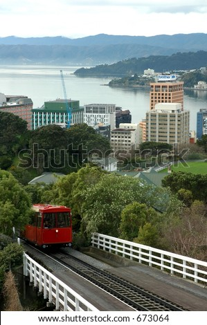 cable car in wellington - stock photo