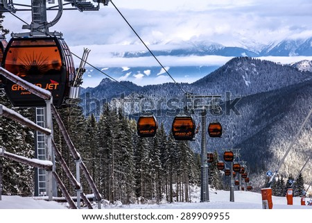 Cable car in winter mountains. Ski resort Jasna, Slovakia. Landscape