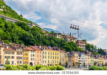 Cable-car leading to the stronghold Bastille in Grenoble - stock photo