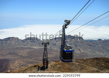Cable car on the volcano, Teide, Tenerife, Canary Islands, Spain - stock photo