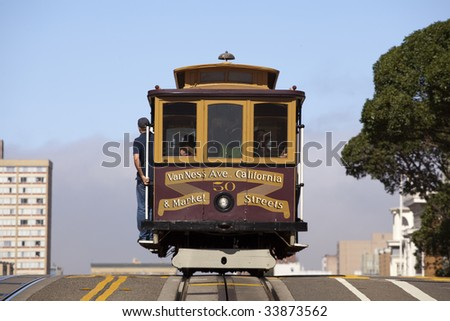 Cable Car over hill - stock photo