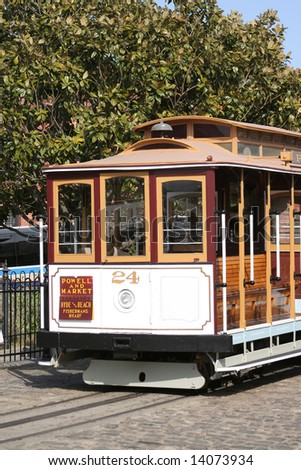CABLE CAR Powell and Market cable car near Fisherman's Wharf in San Francisco. - stock photo