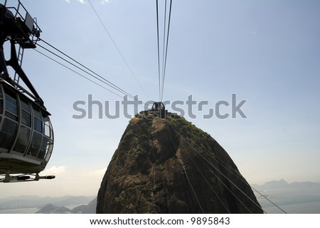 Cable car ride up to the summit of Sugarloaf Mountain - stock photo