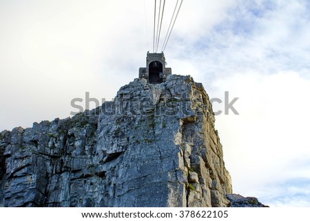 Cable car station at the top of Table Mountain, seen from the cable car when ascending, Cape Town, South Africa - stock photo