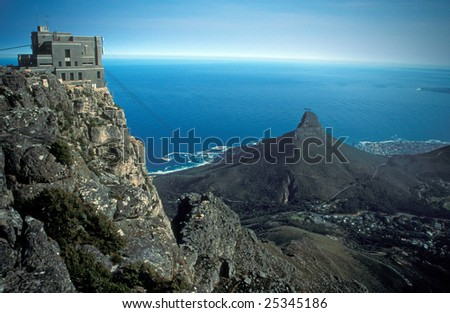 Cable car station on top of table Mountain, Cape Town, South Africa. - stock photo