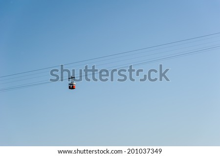 Cable car that runs from Barcelona harbour up to the Olympic stadium at Montjuic in Barcelona Spain - stock photo