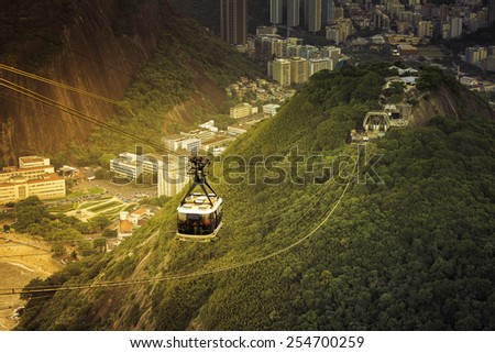 Cable car to Sugar Loaf in Rio de Janeiro with light leak, Brazil - stock photo