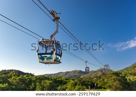 Cable Car way to mountains  - stock photo
