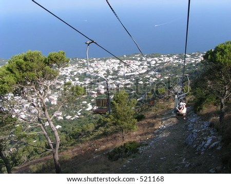 Cable chair ride, Capri, Italy - stock photo
