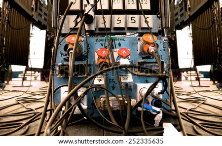 Cable chaos on stage. Sound concert equipment.Electrical equipment - stock photo