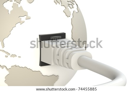 Cable connecting with Planet Earth. - stock photo