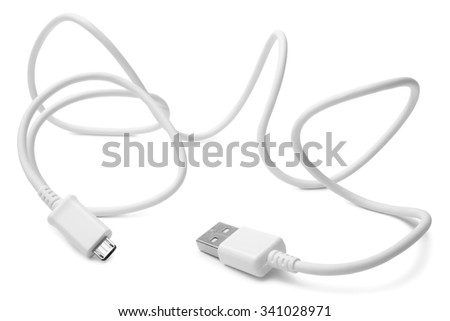 Cable connector micro-USB to USB on white background - stock photo