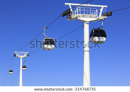 Cable ferry on blue sky background in  Lisbon, Portugal - stock photo