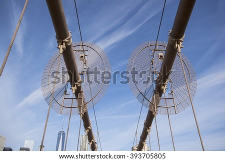 Cable guards on the Brooklyn Bridge in New York City