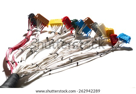 Cable harness, loom with connectors - stock photo