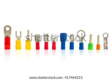 Cable lug use for connecting cables, electrical terminal, electronic work isolate on white with clipping path  - stock photo