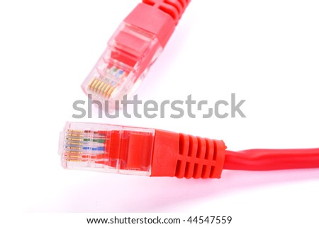 Cable network connection. An Ethernet RJ45 cable. Whitebackground.