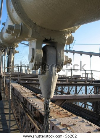 Cable parts on the Brooklyn Bridge - stock photo