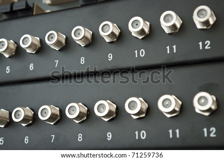 cable plug by internet server - stock photo