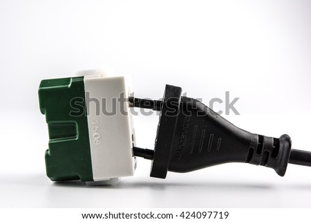 Cable plugged - stock photo