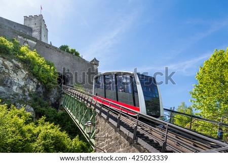 Cable railway, fortress funicular to the Hohensalzburg castle, Salzburg, Austria - stock photo