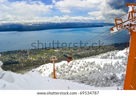 Cable railway in Mount Otto, Bariloche, Argentina. Bariloche city and lake Nahuel Huapi in the background. - stock photo
