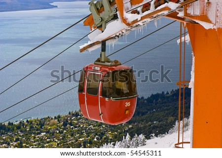 Cable railway in Mount Otto, Bariloche, Argentina. View of Lake Nahuel Huapi. - stock photo