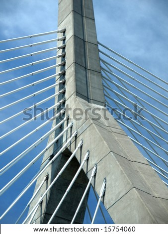 Cable Stay Bridge Tower against Blue Sky